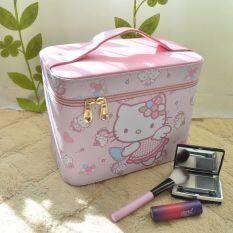 Hello Kitty ราชินีแบบพกพาฮาร์ดประเภทกระเป๋าเครื่องสำอาง เป็นต้นฉบับ