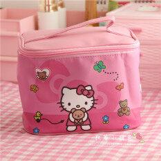 ราคา Hello Kitty แต่งหน้ากล่องเกาหลีกระเป๋าเครื่องสำอางความจุขนาดใหญ่ ใหม่ ถูก