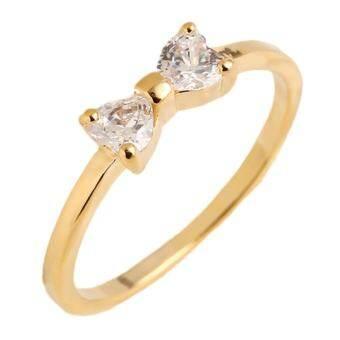 Hequ แหวนทองชุบโบว์แหวนคริสตัลแหวนเครื่องประดับสำหรับผู้หญิงทอง