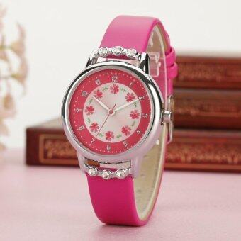HerMia Girl Watches Easy Reader Time Teacher Flowers Diamond Leather Watch for Kids (Rose) - intl