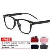 ขาย ซื้อ Hermia Women And Man Fashion Glasses Frame Brand Designer No Lens Decorative Glasses Eyewear Cermin Mata No 1 Bright Black Frame Intl จีน