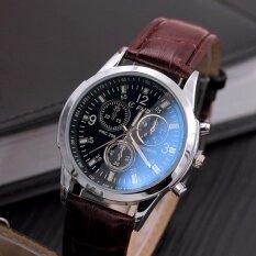 คุณภาพสูงแฟชั่นใหม่สายคล้องคอสีน้ำตาลธุรกิจนาฬิกาผู้ชาย สีดำ ใหม่ล่าสุด