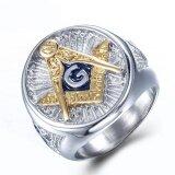 ขาย Hip Punk Gold Color Titanium Stainless Steel Free Mason Freemasonry Masonic Ring For Men Jewelry Intl ถูก จีน