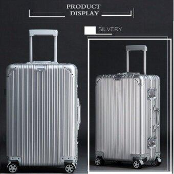 hipoloกระเป๋าเดินทางขนาด 29 นิ้ว โครงอะลูมิเนียม อลูมิเนียม วัสดุ ABS+PC silver