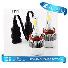 โปรโมชั่น หลอด Led ไฟหน้า รุ่น C6 ขั้ว H11 ความสว่าง 6000K ระบบ Super Bright Chip Cob Led Headlight