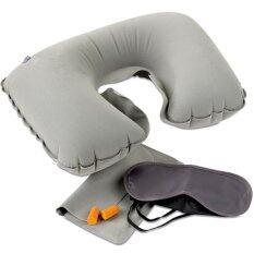 ขาย หมอนรองคอ หมอนเป่าลม ชุดเดินทาง ซื้อ 1 ได้ถึง 3 เบา พกสะดวก เหมาะสำหรับเดินทาง Travel Pillow Set สีเทา กรุงเทพมหานคร ถูก
