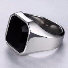ราคา Igogo เครื่องประดับแฟชั่นสแตนเลส Signet แหวน Agate สีดำสำหรับชาย นานาชาติ Unbranded Generic