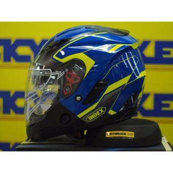INDEX หมวกกันน็อค INDEX รุ่น TESLA \ถอดคางได้ มีแว่น 2 ชั้น. :SIZE:L NO.5 สีฟ้า-เขียว