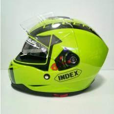 ขาย Index หมวกกันน็อคเต็มใบ รุ่น Legenda I Shield หน้ากาก 2 ชั้น เขียว คาดดำ นวมภายในถอดซักได้ ใหม่