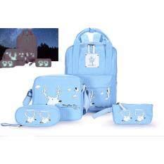 ส่วนลด Indy Style กระเป๋าเป้ กระเป๋าเป้สะพายหลัง กระเป๋าสะพายพาดลำตัว กระเป๋าแฟชั่นเกาหลีเซ็ท 4 ใบสุดคุ้ม กระเป๋าสะพายหลัง สีฟ้า