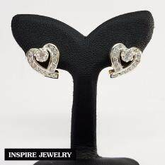 ซื้อ Inspire Jewelry ต่างหู ฝังเพชร รูปหัวใจ งานจิวเวลลี่ หุ้มทองแท้ 100 24K สวยหรู พิเศษ สำหรับผิวแพ้ง่ายมาก พร้อมถุงกำมะหยี่ ถูก กรุงเทพมหานคร