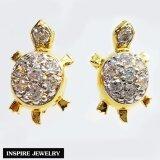 ขาย ซื้อ Inspire Jewelry ต่างหูเต่าฝังเพชร งานจิวเวลรี่ ตัวเรือนหุ้มทอง 100 24K นำโชค เสริมดวง พร้อมถุงกำมะหยี่
