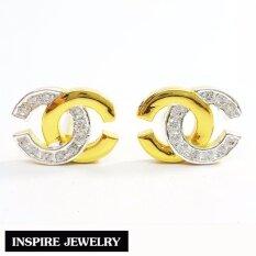 ขาย Inspire Jewelry ต่างหูcn ฝังเพชร งานจิวเวลลี่ หุ้มทองแท้ 100 24K สวยหรู พร้อมถุงกำมะหยี่ Inspire Jewelry ถูก