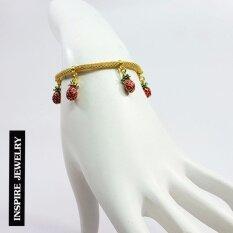 โปรโมชั่น Inspire Jewelry สร้อยข้อมืองานDesign ห้อยผลไม้งานลงยาคุณภาพ สวยหรู หุ้มทองแท้ 100 24K พร้อมถุงกำมะหยี่ Inspire Jewelry