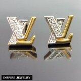 ส่วนลด สินค้า Inspire Jewelry ต่างหู Lv ฝังเพชร งานจิวเวลลี่ หุ้มทองแท้ 100 24K สวยหรู ขนาด 1 2 Cm พร้อมกล่องกำมะหยี่