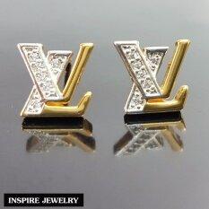 ราคา Inspire Jewelry ต่างหู Lv ฝังเพชร งานจิวเวลลี่ หุ้มทองแท้ 100 24K สวยหรู ขนาด 1 2 Cm พร้อมกล่องกำมะหยี่ ใหม่