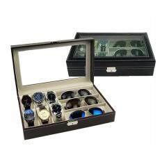 ซื้อ Int Decor กล่องใส่นาฬิกาและแว่นตา ไม้บุหนัง สีดำ Unbranded Generic ออนไลน์