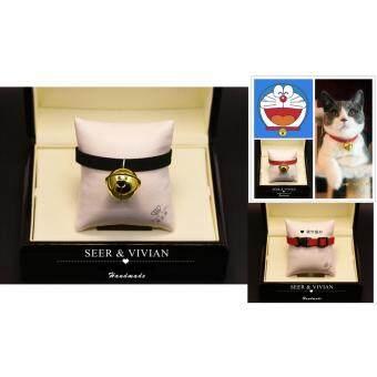 Inter Shop Lovecats Model CF004-BLACK-30-40cmปลอกคอแมว สุนัขเท็ดดี้ ใข้วัสดุอย่างดี กระดิ่งทองเหลืองที่มีคุณภาพสูง ปลอกคอพร้อมเข็มขัดกำมะหยี่ซ็อกเก็ตปรับได้สวยงามและมีน้ำหนักเบา