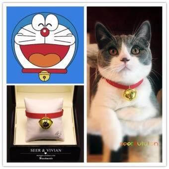 Inter Shop Lovecats Model CF004-RED-30-40cmปลอกคอแมว สุนัขเท็ดดี้ ใข้วัสดุอย่างดี กระดิ่งทองเหลืองที่มีคุณภาพสูง ปลอกคอพร้อมเข็มขัดกำมะหยี่ซ็อกเก็ตปรับได้สวยงามและมีน้ำหนักเบา