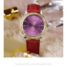 ส่วนลด ผู้หญิงสีม่วงนาฬิกาข้อมือควอตซ์แฟชั่นสำหรับสุภาพสตรีสไตล์สวิสแบบง่ายๆ Intl