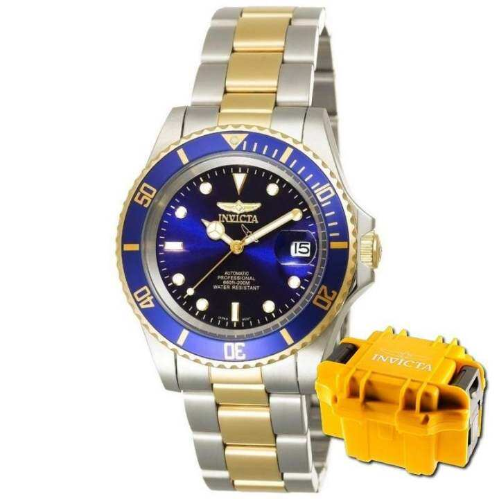 INVICTA Pro Diver Men 40mm Case Steel, Gold Stainless Steel Strap Blue Dial Automatic Watch 8928OB w/ Impact Case - intl