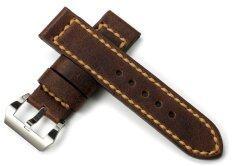 Istrap 24Mm Genuine Calf Leather Watch Band Brown ใหม่ล่าสุด