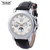 ส่วนลด สินค้า Jaragar F2016620 Men Auto Mechanical Watch Moon Phase Calendar Display Genuine Leather Band Wristwatch Intl
