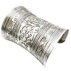 ซื้อ Jetting Buy Fashion Antique Curved Jewelry Long Wide Vintage Metal Cuff Bracelet Bangle Silver ใหม่
