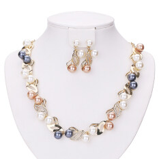 Jewelry Sets For Women Simulated Pearl Fine Wedding Bridal Party Gold Plated Crystal Accessories - Intl.