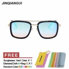 ส่วนลด Jinqiangui Sunglasses Men Square Titanium Frame Sun Glasses Blue Color Eyewear Brand Designer Uv400 Intl Jinqiangui