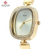 ส่วนลด Julius Ja 298 Female Quartz Watch Slim Leather Band Elegant Rhinestone Intl
