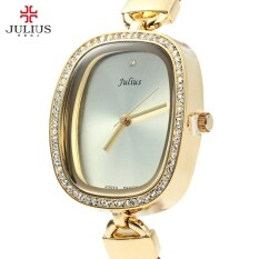 ขาย ซื้อ ออนไลน์ Julius Ja 298 Female Quartz Watch Slim Leather Band Elegant Rhinestone Intl