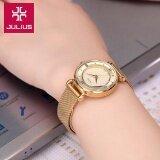 ราคา Julius นาฬิกาแบรนด์เกาหลี สายสแตนเลส รุ่น Ja728 สายสีทอง Gold หน้าปัดสีทอง Gold By Budgerigar Time
