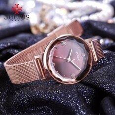 ราคา Julius นาฬิกาแบรนด์เกาหลี สายสแตนเลส รุ่น Ja917 สายสีชมพูทอง Pinkgold หน้าปัดสีทองแดง By Budgerigar Time