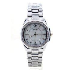 ซื้อ Junjia นาฬิกาข้อมือชาย หญิง ระบบQuartz เรือนและสายสแตนเลสสติล หน้าปัดทรงเหลี่ยมประดับเพชรคริสตัลหรูหรา กันน้ำ รุ่น Jun W