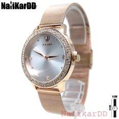 ซื้อ Junjia Watch Sliding นาฬิกาข้อมือสุภาพสตรี สายเหล็ก เลื่อนตัวล็อค Rose Gold ทรงกลม ขอบเพชร คริสตัล