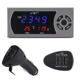 ขาย Justgogo Car Charger 3 In 1 Multi Function 12 24V Car Usb Car Phone Charger Led Digital Clock Thermometer Voltmeter Lcd Display ถูก จีน