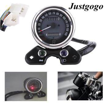 Justgogo Universal รถจักรยานยนต์วัดระยะทางวัดความเร็วดิจิตอลจอแสดงผล 9.5 เซนติเมตรรูยึด