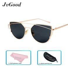 ราคา Jvgood แมวตาแว่นตากันแดดแว่นตาโพลาไรซ์สตรีทแฟชั่นกรอบโลหะรังสียูวี 400 ผู้หญิงแว่นตากันแดดสีทองสีเทา นานาชาติ ใหม่