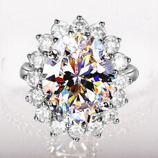 ซื้อ คู่ Jz128 พลอยสีฟ้าคริสตัลปริ๊นเซอัญมณีแหวนจำลองแหวนเพชร ใน ฮ่องกง