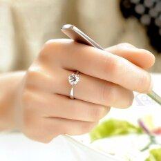 โปรโมชั่น Kaari แหวน ประดับเพชร Cz เม็ดเดี่ยว ขนาดปรับได้ตามนิ้ว สีเงิน Kaari ใหม่ล่าสุด