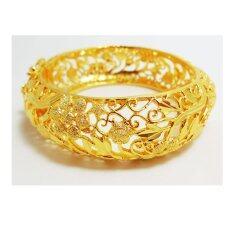 ซื้อ กำไลข้อมือฉลุลาย งานทองชุบไมครอน ชุบเศษทองคำแท้ 96 5 หนัก 3 บาท เส้นผ่านศูนย์กลาง 6 ซ ม ออนไลน์