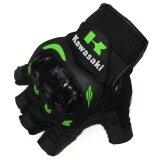 ขาย ซื้อ Kawasaki Motorcycle Gloves Orange Green Color Half Finger Protect Hands Guantes Size Xl Intl ใน จีน