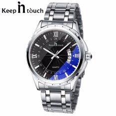 โปรโมชั่น Keep In Touch นาฬิกาข้อมือสุภาพบุรุษ สายสแตนเลส แฟชั่น ลดราคาถูก กันน้ำ หน้าปัดดำ แถมฟรี ที่ตัดสาย ถูก