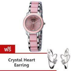 ขาย Kimio นาฬิกาข้อมือผู้หญิง สีชมพู เงิน สาย Alloy รุ่น K455L แถมฟรีต่างหู Crystal Heart Kimio ถูก