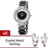 ซื้อ Kimio นาฬิกาข้อมือสุภาพสตรี ประดับคริสตัล สาย Alloy รุ่น K485 สีดำ เงิน แถมฟรี ต่างหู Crystal Heart