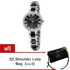 ขาย Kimio นาฬิกาข้อมือผู้หญิง สีดำ ขาว สาย Alloy รุ่น Kw506 แถมฟรี Sz Shoulder Lady Bag คละสี 1ใบ มูลค่า 299