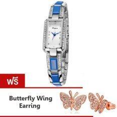 ซื้อ Kimio นาฬิกาข้อมือผู้หญิง สีน้ำเงิน เงิน สาย Alloy รุ่น Kw538S แถมฟรี ต่างหู Butterfly Wing ใหม่ล่าสุด