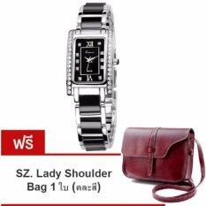 ขาย ซื้อ ออนไลน์ Kimio นาฬิกาข้อมือสุภาพสตรี สีดำ เงิน สาย Alloy รุ่น Kw510 แถมฟรี Sz Lady Shoulder Bag คละสี มูลค่า 279