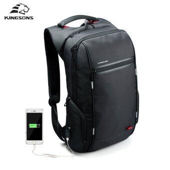 Kingsons กระเป๋าแลปทอป รุ่น KS3144W ขนาด 15.6 นิ้ว กันน้ำ ป้องกันขโมย พร้อมพอร์ตชาร์จแบบ USB (สีดำ)